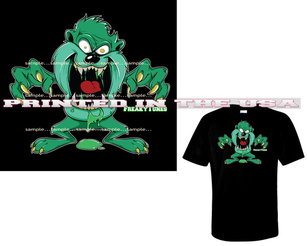 Taz Tazmanian Devil FreakyTunes Zombie Monster Cartoon Art Black T Shirt