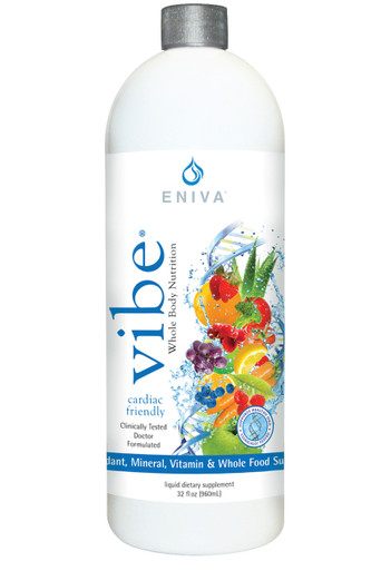 Eniva VIBE Fruit Sensation, a concentrated Liquid Multivitamin comes in a 32 oz bottle. Product ID # 27032
