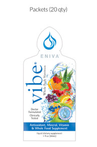 Eniva VIBE Fruit Sensation, 1 Box of 20 packets, concentrated liquid daily multivitamins, antioxidants, mineral, vitamins, amino acids, whole food supplement, Full Spectrum nutrition, DNA support, nature based nutraceutical, fast acting, bio-ready liquid design, full spectrum formula, specialized phytonutrients, lasting vibrant health, Cellular Defense Formula, aloe vera extracts, decaffeinated green tea EGCG catechin complex, increased magnesium, enhanced AntiOX Fruit and Vegetable Blend, increased Niacin (Vitamin B3), increased Natural Vitamin D, enhanced Green Tea Combination heart health, high-potency antioxidants, decaffeinated EGCG green tea complex, cellular defense formula, research studies supported, heart-healthy, D-Ribose, CoQ10, L-Carnitine, Malic Acid, Isolated Soly Lecithin, Mixed Tocopherols (family of Vitamin E compounds),* Product ID # 27030