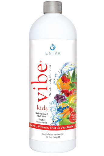 Eniva VIBE Kids, 32 oz, concentrated liquid vitamins for kids. NO stimulants or caffeine, NO artificial colors, NO artificial flavors, NO artificial sweeteners, NO fish ingredients, vegetarian friendly, NO hydrogenated oils, non-GMO Ingredients, Product ID # 17015