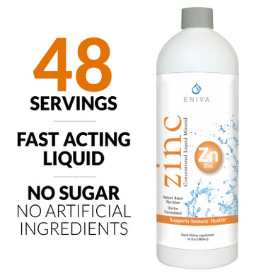 Eniva Minerals for Life Zinc Liquid Concentrate, 16 oz, liquid zinc supplement with Cell-Ready® mineral ZINC, healthy skin, connective tissue, healthy immune system, vision, reproduction, all-natural, natural mineral solution, solutomic, cold and flu buster, ward of infection, Product ID # 8014