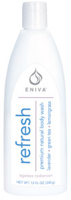 Eniva Refresh Premium Natural Body Wash, 12 oz, premium botanical extracts, reenergize skin and hair,* Lavender Flower, Lavender Oil, Green Tea, Lemongrass, Ylang Ylang Oil, Jojoba Oil, Pro-Vitamin B5, Safety Promise, No Parabens, No Phthalates, No MEA, TEA or DEA, No Glycols or Aluminum, No SLS or other sulfates,  No Dyes or Artificial Fragrances, Product ID # 55011