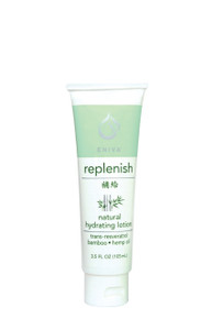 Eniva Replenish Natural Hydrating Lotion, 3.5 oz, nourishes body with a natural moisture-rich botanicals and oils, quickly absorbs, hydrates and softens skin, velvety nutrients penetrate for firm, smooth, radiant skin hydration, nourishing and hydrating botanicals oils,* non-greasy lotion, trans-Resveratrol, Coconut Oil, Hemp Oil, Bamboo, Oatmeal, Aloe Vera, Green Tea, Shea Butter, Safflower Oil, Safety Promise, No Parabens, No Phthalates, No MEA, TEA or DEA, No Glycols or Aluminum, No SLS or other sulfates, No Dyes or Artificial Fragrances, Product ID # 5221