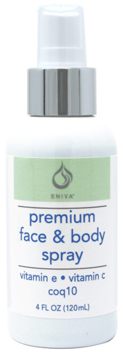 Eniva Nourishing Face & Body Spray, 4 oz, for all skin types of normal, combination, oily, purifying freshener, tones, softens, conditions skin, hydrates, promotes cell health, visible improvement in skin softness, improve fine lines and wrinkles, youthful glow, protect with antioxidants against elasticity diminishing free radicals, proprietary humectants moisture retention, fefresh and soothe skin, fine mist natural Vitamin E, stimulate collagen, elastin renewal,* Product ID # 5220