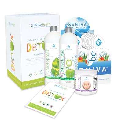 """Eniva Detox Kit with VIBE Fruit Sensation 20-1oz Packets, 7-Day Detox & Cleanse Program, VIBE Fruit Sensation, total body detox, counteracts free radical damage, supports cellular DNA, Bio-Chlor, cleanse entire body, liver, gallbladder, colon, blood, """"deodorize"""" the body, Muscle Aid, supports aluminum removal from the soft tissue, energy production, LifeCleanse, colon, digestive tract and liver detoxifier, internal conditioner, healthy intestinal bacteria, product use and instruction sheet, Product ID # 32024"""