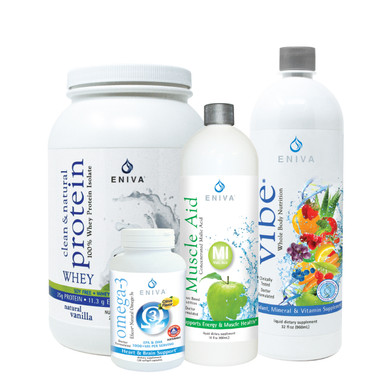 Fitness Bundle - Protein, Omega-3 Oil, Vibe and Muscle Aid malic acid