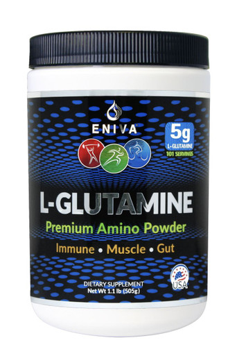 L-GLUTAMINE  Premium Amino Powder L-Glutamine is an essential amino acid found in high  concentration in the body that plays a key role in immune, muscle and gut health.* Under body stress or physical  demand it can be significantly depleted. The Eniva Premium L-Glutamine Powder provides ultra-pure, USA made and body ready glutamine designed for easy mixing. ID#7303. 5 GRAMS  |  101 SERVINGS  |  ALL NATURAL  |  SOY FREE   |  NON GMO   |  GLUTEN FREE  |  NO ARTIFICiAL FLAVORs  |  NO ARTIFICIAL COLORs  |  NO SUGARs