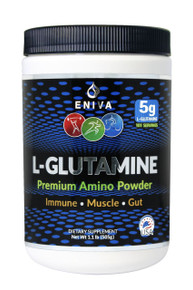 Eniva L-Glutamine essential amino acid, immune, muscle and gut health. 5 Grams, 101 servings, All natural, Soy Free, Non GMO, Gluten Free, No artificial Flavors, No artificial colors, No Sugars, Product ID 7303