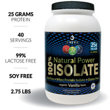 Eniva Natural Power 100% Isolate, 2.75 LB, Soy Free, Gluten Free, 40 servings, 25 grams protein per serving, Vanilla Flavor, Hormone Free, Antibiotic Free, 99% Lactose Free, No Gluten, Non-GMO, Product ID 7301B