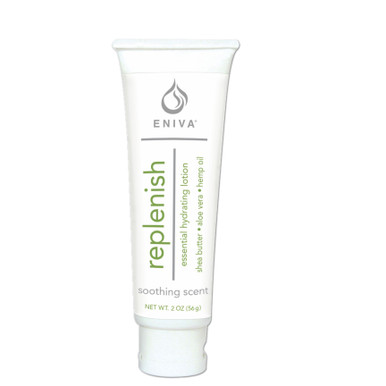 Eniva Replenish Natural Hydrating Lotion, 2 oz, nourishes body with a natural moisture-rich botanicals and oils, quickly absorbs, hydrates and softens skin, velvety nutrients penetrate for firm, smooth, radiant skin hydration, nourishing and hydrating botanicals oils,* non-greasy lotion, Coconut Oil, Hemp Oil, Bamboo, Oatmeal, Aloe Vera, Green Tea, Shea Butter, Safety Promise, No Parabens, No Phthalates, No MEA, TEA or DEA, No Glycols or Aluminum, No SLS or other sulfates, No Dyes or Artificial Fragrances, Product ID 530127
