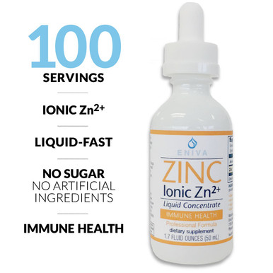 Eniva Minerals for Life Zinc Liquid Concentrate, 1.7 oz, liquid zinc supplement with Cell-Ready® mineral ZINC, healthy skin, connective tissue, healthy immune system, vision, reproduction, nature based, natural mineral solution, solutomic, cold and flu buster, ward of infection, body support, combat virus, Product ID 8015