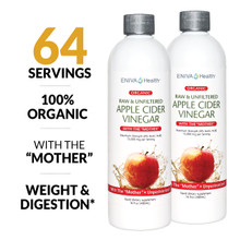 Apple Cider Vinegar, 100% Organic, with The Mother, Unpasteurized, healthy weight, healthy digestion, healthy skin, ID 14009TWO
