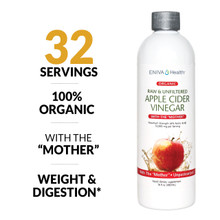 Apple Cider Vinegar, 100% Organic, with The Mother, Unpasteurized, healthy weight, healthy digestion, healthy skin, ID 14009