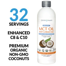 ENIVA® ORGANIC ENHANCED MCT OIL provides energy packed fatty acids and metabolism support.* This MCT Oil contains specialized fatty acids from Non-GMO coconut oil that are a much faster source of energy than most longer chain fatty acids. 16 oz SKU 7305