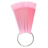 Pink Fan Shaped False Nail Art Tips Display with Metal Ring Holder and Screw
