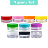 3G/3ML (0.1 oz) Plastic Clear Cosmetic Sample Jars (Round Top)