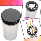 Nail Brush Holder and Cleanser Bottle with Black Lid
