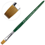 Fuji Kolinsky Sable (Short, Flat Shaped) Brush with Green Handle Size 14