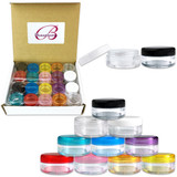 5G/5ML Clear Plastic Cosmetic Sample Jars with Multi-Color Lids
