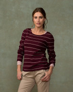 Fine Knit Merino Crew Neck - Plum Stripe
