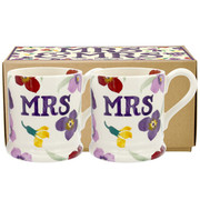 Wallflower Mr & Mrs Set of 2 1/2 Pint Mugs Boxed