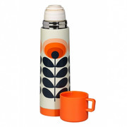 Vacuum Flask 70s Oval Flower Orange