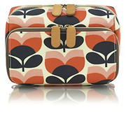 Flower Stripe Washbag - Orange