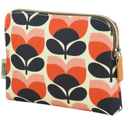 Flower Stripe Cosmetic Brush Case - Orange