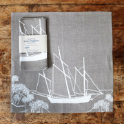 Napkins - Set of Two - Natural with White Ship