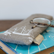Glasses Cases - Natural with white ship
