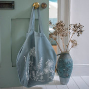 Blue Linen Hedgerow Slouch Bag