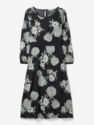 Navy Dress with White Flower Pattern