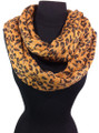 Warm Knitted Leopard With  Metallic Large Loop Infinity Scarf  Dozen #395