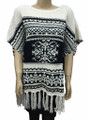 Two Tone Pullover Short Sleeve Sweater Poncho Assorted Dozen # P050