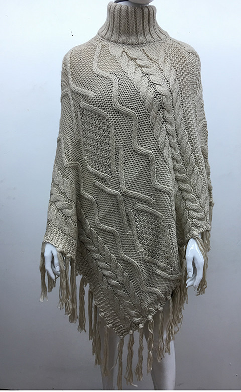 Solid Color Cable-Knit Poncho Beige # P181-1