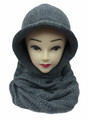 Soft Knit Pullover Hood Infinity Scarf  Grey # 1525