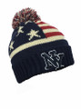 American Flag Stars Knit Beanie Hats  With Ball wholesale Dozen #H1121