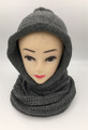 New! Soft Knit Pullover Hood Infinity Scarf Dark Grey # 1525