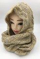 New! Two-Tone Winter Pullover Knit  Hood Infinity Scarf  Beige # 1553