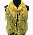 Lightweight Flower Lace Scarf with Fringe Assorted Dozen #728