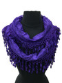 Lightweight  Flower Design Lace Infinity Scarf with Fringe Assorted Dozen # S 807