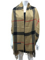 Cashmere Feel  check Pattern Khaki K77-5