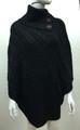 Solid Color Cable-Knit Button Turtleneck  Poncho Black # P182-2
