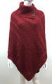 Solid Color Cable-Knit Button Turtleneck  Poncho Red # P182-4