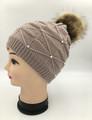 Women's Slouchy Rhinestone Hats with Fur Ball  Assorted Dozen #H1184