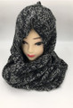 New! Two-Tone Winter Pullover Knit  Hood Infinity Scarf  Gray # 1553