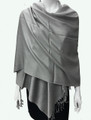 New!  Solid Color Metallic Pashmina Light Gray Dozen #8-1