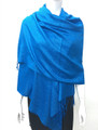 New!  Solid Color Metallic Pashmina Light Turquoise Dozen #8-2
