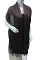women's glitter metallic shawl scarf   Dark brown # 736-11