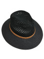Summer Straw Crochet Crown Fedora Hat Black #8026-1